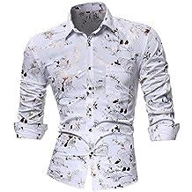 Hombre blusa manga larga Otoño,Sonnena ❤ La camisa impresa de los hombres de