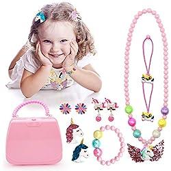 VSTON Conjunto de Joyas para niños Unicornio, Collar Brillante aretes Pulsera Anillo de Pelo único Arco de Pelo para Regalo de niña