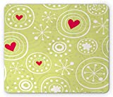 ASKSSD Tappetino per Mouse Hearts Mouse Pad, Snowflakes with Hearts Abstract Shape Dots Winter Season Love Illustration, Standard Size Rectangle Non-Slip Rubber Mousepad, Pale Green White Red
