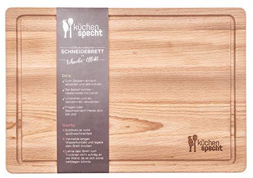 Schneidebrett Holz Gross   Schwebe-Effekt   35x24x2cm mit Saftrille   Antibakterielles...