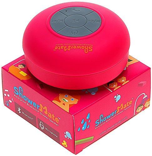 Showermate Wireless Bluetooth Lautsprecher | Wasserdichtes Duschradio mit Freisprecheinrichtung und eingebautem Mikrofon | Kompatibel mit allen Bluetooth Geräten – Rosa