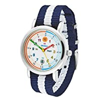 Amonev Time Teacher Watch, with its Blue and White Strap and Colourful Easy to Read dial This Makes The Perfect Girls Watches or Boys Watches (Blue)