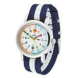 Amonev Armbanduhr Time Teacher, mit blau-weißem Armband, farbenfrohes leicht zu lesendes Zifferblatt Sprache, für Mädchen oder Jungen