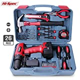 Apollo 26pc Household Cordless Power Drill Tool Kit Including 9.6V Drill Driver with 1200 mAh Ni-MH Rechargeable Battery, 16 Position Keyless Torque Clutch, Variable Speed Switch, Drill & Screwdriver Accessory Set & 25pc Most Reached for Hand Tools including Heavy Duty 370g Hammer – all in Sturdy Storage Box