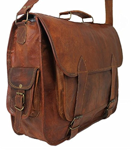 Leatherworld Damen Herren Echt-Leder Tasche Aktentasche Arbeitstasche Notebooktasche Laptoptasche 15 16 Zoll DIN A4 Umhängetasche Dokumenten-tasche Büro aus hochwertigem Leder Vintage braun LT022ZD Braun