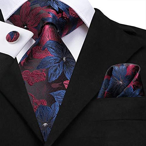 HYCZJH Silk Mens Ties 8,5 cm Breite Fashion Plaid Striped Blau Rot Krawatten für Männer Business Hochzeit Krawatte Manschettenknöpfe -