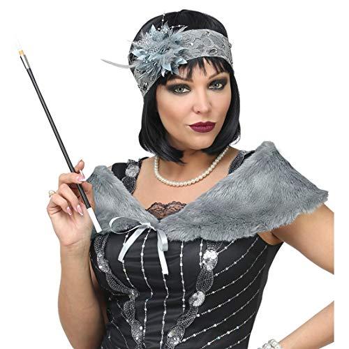 Amakando Gatsby Kostüm-Zubehör mit Schultertuch & Haarschmuck / Grau / Flapper Verkleidungskit für Damen / Perfekt angezogen zu Fasching & Fastnacht (Jazz Diva Kostüm)