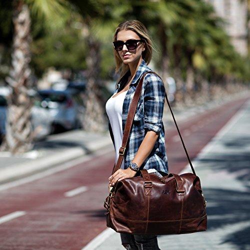 SID & VAIN Weekender YALE - Unisex Reisetasche groß Ledertasche - Sporttasche im Vintage-Look Damen Herren echt Leder braun-cognac