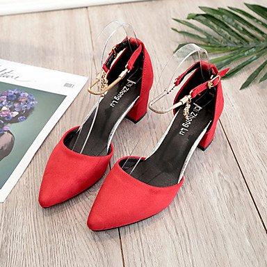 LvYuan-ggx Da donna Tacchi Cashmere Estate Footing Più materiali Quadrato Nero Marrone Rosso Tessuto almond 5 - 7 cm almond