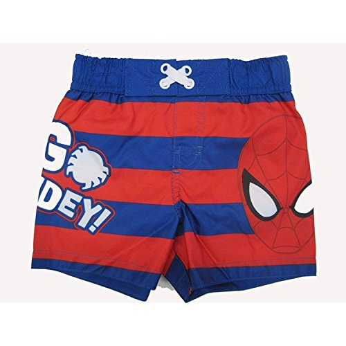 Marvels Little Toddler Boys Red Royal Blue Striped Go Spidey Swim Shorts 4T (4t Swim Trunk)