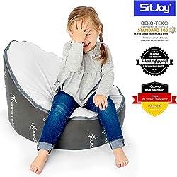 Sitjoy Baby-Sitzsack doomoo   Toxproof-Perlen Füllung   Giraffe Grau   Liegekissen - Lagerungskissen
