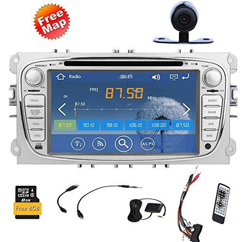 7-Zoll-Digital-Bildschirm- Bluetooth Auto-DVD-Spieler GPS navi Autoradio Radio für Ford Focus 2008-2010 Fast 800-MHz-CPU Integriert Bluetooth FM AM-Radio iPod Audio-Steuergerät + 8GB Standard-GPS- -