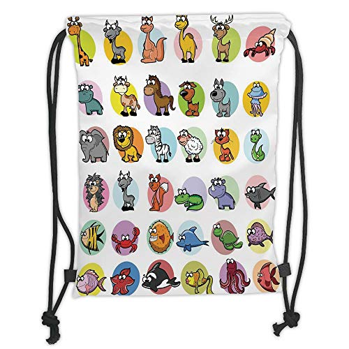 Fashion Printed Drawstring Backpacks Bags,Zoo,Funny Cute Cartoon Style Animals Set Colorful Dots Doodle Jungle Life Kids Room Decor Decorative,Multicolor Soft Satin,5 Liter Capacity,Adjustable Str
