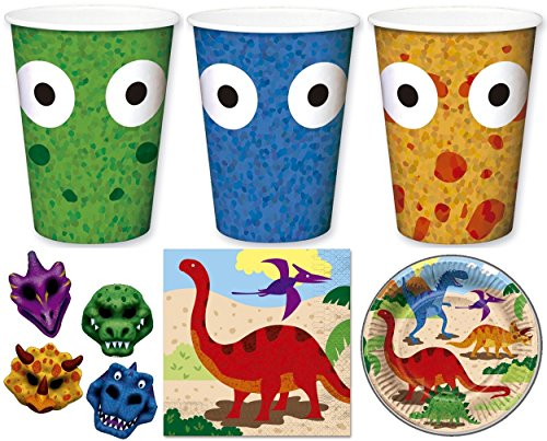 (Enter-Deal-Berlin Kinder Set - Dino - ( Becher, Teller, Servietten & 4 Masken ))