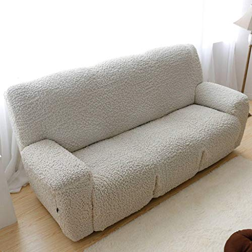 Gopg elasticizzato copridivano, morbido antiscivolo spandex jaquard sofa cover sdraio poltrona mobili protector copri adatto per soggiorno bambino cani-3 posti 210-240cm-bianco