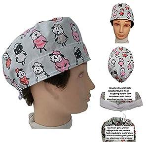 OP-Kappe Kleine Schafe für kurze Haare, Chirurg, Zahnarzt, Tierarzt, Koch. Saugfähig auf der Stirn, einstellbar mit Spannrolle und Gummi.