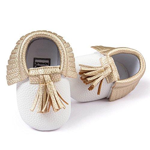 Gosear Niedlich Quaste Stil Kleinkind Baby Kleinkinder Kinder Schuhe mit Weiche Sohle Unisex für Baby Mädchen Jungen PU Schuh Schwarz Größe 13 Weiß