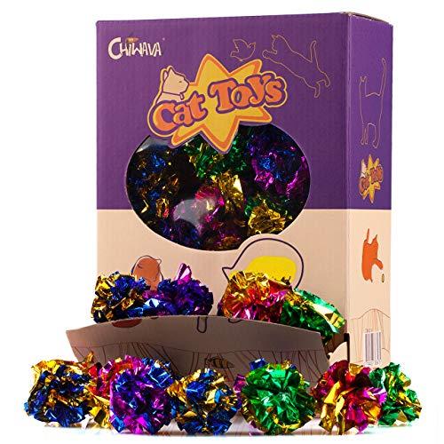 Chiwava 24 Stück 4 cm Mylar Bälle Katze Spielzeug Glänzend Crinkle Ball Kitten Knistern Leichtes Spiel Sortiert Farbe