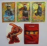 Lego Ninjago Serie 3-3 limitierte Gold Karten Trading Cards LE 3 Spinjitzu Meisterin Nya, LE 21 Gemeiner Nails, LE 22 Gemeiner Chopper Maroni + 1 Ninjago Aufkleber Kai + 1 Ninjago Schútzhülle