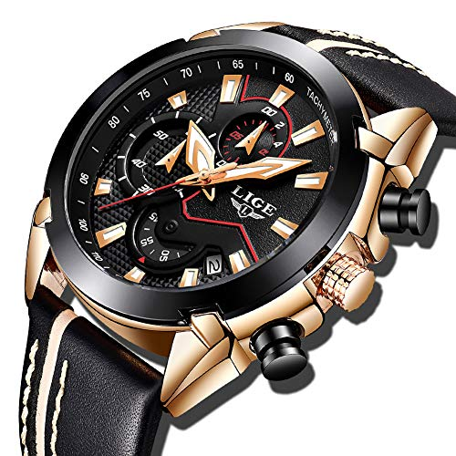 LIGE Herren Uhren Fashion Sport Chronograph Schwarz Gold Military Wasserdicht Analoge Quarzuhr mit Leder 9869A - Amazon Angebote