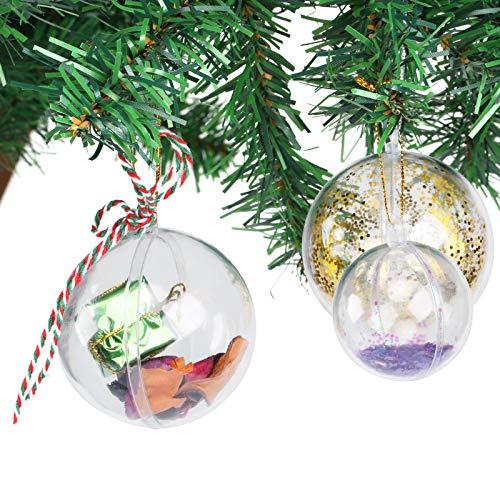 Gwhole 15 pezzi palla di plastica trasparente fillable chiaro palla ornamento da riempire decorazioni natalizie albero (4,5,6 cm)
