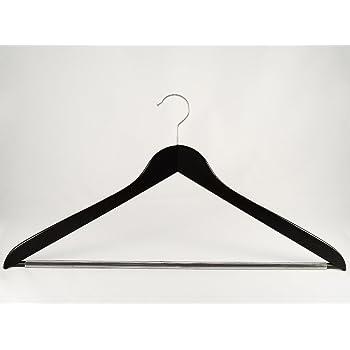 NEU schwarz 50cm breit 5 Stück Holzbügel für Anzüge und Zweiteiler mit Steg