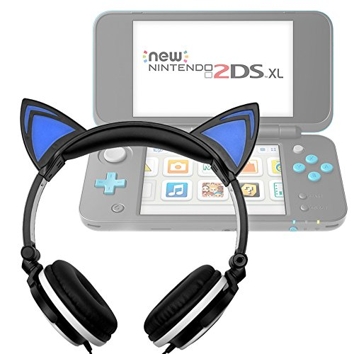 Duragadget Casque Audio Noir Lumineux pour Console de Jeux Nintendo 2DS XL - Oreilles de Cha
