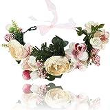 AWAYTR Blumen Stirnband Hochzeit Haarkranz Blume Krone (Rosa + Beige)