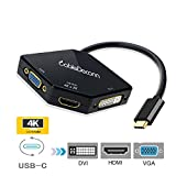 cabledeconn USB-C Multiport Adapter, USB-C Type C 3.1, Thunderbolt 3 compatibile) to HDMI DVI VGA 4 K cavo Adapter Converter for new MacBook Pro