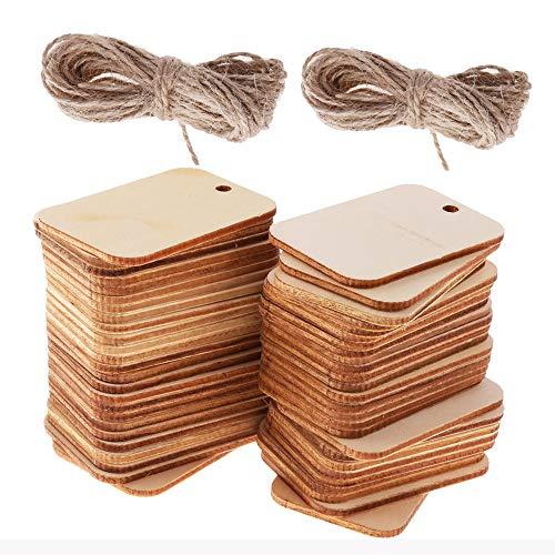SIMUER - 100 etiquetas madera decorativas manualidades