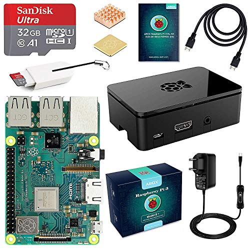 ABOX Raspberry Pi 3 B+ Starter Kit con Micro SD de 32GB Clase 10, 5V 3A Power Adapter with Switch, 2 radiators, Cable HDMI, Box Quality, Card Reader, Black box