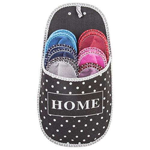 GWELL 6er Set Gästehausschuhe Schwarz Gepunktet Home Pantoffeln Aus Filz Antirutsch Unisex Größe 36-44