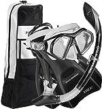 U.S. Divers Admiral Snorkel Set-Premium silicona Snorkel máscara, aletas de viaje Trek, Dry Top Snorkel + Snorkel Gear Bag