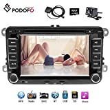 Podofo Autoradio Stéréo 7 Pouces HD Ecran Tactile Lecteur de Radio DVD Navigation GPS Bluetooth Support Télécommande Stéréo, AVI, FM, USB, MP4, MP3, USB, CD, AUX, FM, iPod, iPhone Pour Volkswagen