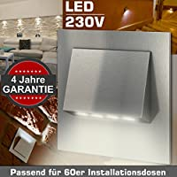 4x Wandeinbauleuchte TERAMO Edelstahl 230V LED ca. 1 Watt GARANTIE 4 Jahre; IP20 Warm-Weiß Wandleuchte Treppenbeleuchtung Wandstrahler Treppenleuchte passend für 60er Schalterdosen Installationsdosen