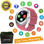 SEPVER Smart Watches Smart Watch SN05 Round Smartwatch With SIM TF Card Slot Sync Calls Notifications For IOS Android Samsung Huawei Sony LG HTC Google Men Women Kids Girls Boys Pink