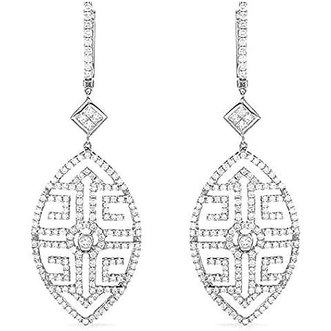 3,55 kt, diamanti & Lampadario princess-Orecchini a