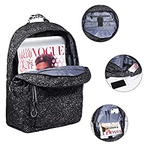 5197NIndFgL. SS300  - Tibes Mochila Escolar, Mochila Escolar de Moda Mochila de día para Estudiantes con Puerto de Carga USB, Negro
