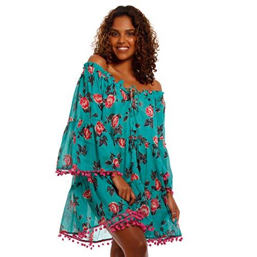 Damen Hippie Tunika Kleid Patchwork Minikleid MADE IN INDIA stylisches Strand-Kleid oder Party-Kleid für Frühling und Sommer - Jumper aus 100% Baumwolle - Freizeit-Kleid (One Size, Mehrfarbig/Blau)