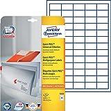 Avery Zweckform 6121 Universal-Etiketten (A4, Papier matt, 1,625 Etiketten, 38 x 21,2 mm) 25 Blatt weiß