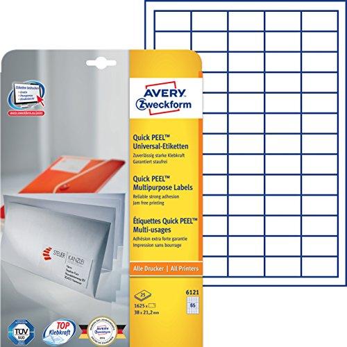 Avery Zweckform 6121 Etiketten (A4, 1625 Plus 325 Universal-Etiketten extra, 38 x 21,2 mm) 30 Blatt, weiß