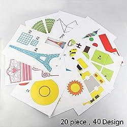 DOLYUU 3D Pluma,Plantillas de bolígrafos 3D, bolígrafo de Papel 3D para bolígrafo de impresión 3D, 20 diseños Diferentes, para Crear Mejor Obras Bonitas