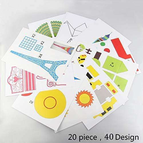 3D Pen Schablonen,3D Pen Stencils 3D Drucker Stift Papier Stencils/ 20 Seiten Verschiedene Papier Patterns/ New Design Papier Formen für 3D Druck Feder,3D-Zeichnungs Feder und 3D Gekritzel Feder/ 3D-Modellbau Arts & Crafts Zeichnung/ Bunte 3D Druckmuster.