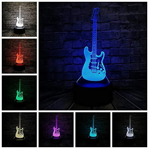 PDDXBB Neuheit Musik Kühle Bassgitarre 3D Led-Lampe Nachtlicht Für Musiker Hause Tischdekoration Jahrestag Sieben Farbe 8,7 * 8,7 * 4,3 cm (Mit Wecker Basis) -