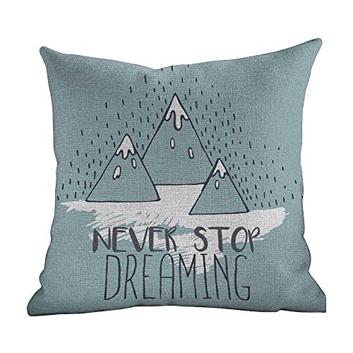DKISEE Linen Blend Fashion Home Decor Pillowcase Quote, Mountain Peaks Never Stop Dreaming Goal Success Aspiration Inspiring Print, Light Green White, Square Pillowcase Throw Cushion 26x26 Inches