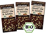 Edelmond Bio Mandel & Salz Milch-Schokolade mit gutem 54% Kakaoanteil. Passt toll zum Wein. Fair Trade Kakaobohnen und geröst