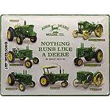 Nostalgic-Art John Deere - Model Chart - Cadeau-idee voor tractorfans retro metalen bord, vintage design ter decoratie, 30 x 40 cm