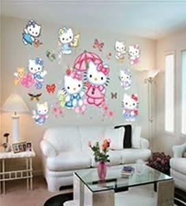 Adesivi murali bambini grande ciao gattino piccola principessa adesivi murali camera da letto - Wall stickers camera da letto ...