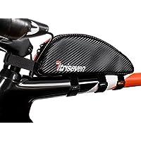 TRISEVEN Carbon Aero Bag 30 * Bolsa de ciclismo Frame * Triatlón Bag * MTB Bag * Capacidad de combustible, iPhone PLUS, herramientas * Bolsa de tubo superior * Accesorios de bicicleta * 10 geles * 4 correas o 2 pernos * Agujero para auriculares * 100% garantía de devolución de dinero (negro)