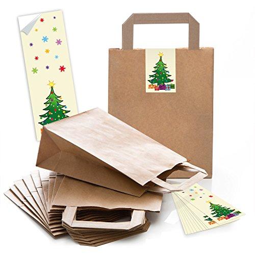(5 braune Papiertüten Geschenk-tüten Weihnachtstüten Boden 18 x 8 x 22 cm kleine Papiertaschen Weihnachts-Aufkleber Christbaum rot gelb Kraftpapier-Tüten Weihnachten Verpackung Geschenke)